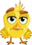 Simple Style Bird Cartoon Vector Character AKA Birdy Eyebrows - Bored