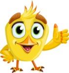 Simple Style Bird Cartoon Vector Character AKA Birdy Eyebrows - Thumbs Up