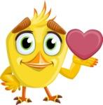 Simple Style Bird Cartoon Vector Character AKA Birdy Eyebrows - Show Love