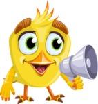 Simple Style Bird Cartoon Vector Character AKA Birdy Eyebrows - Loudspeaker