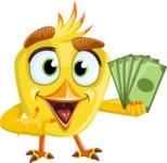 Simple Style Bird Cartoon Vector Character AKA Birdy Eyebrows - Show me the Money