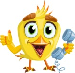 Simple Style Bird Cartoon Vector Character AKA Birdy Eyebrows - Support 2