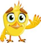 Simple Style Bird Cartoon Vector Character AKA Birdy Eyebrows - Wave