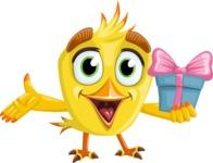 Simple Style Bird Cartoon Vector Character AKA Birdy Eyebrows - Gift