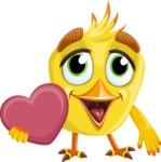 Simple Style Bird Cartoon Vector Character AKA Birdy Eyebrows - Love