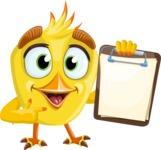 Simple Style Bird Cartoon Vector Character AKA Birdy Eyebrows - Note 3