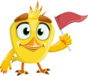 Simple Style Bird Cartoon Vector Character AKA Birdy Eyebrows - Flag