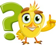 Simple Style Bird Cartoon Vector Character AKA Birdy Eyebrows - Question Mark