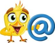 Simple Style Bird Cartoon Vector Character AKA Birdy Eyebrows - Email