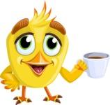 Simple Style Bird Cartoon Vector Character AKA Birdy Eyebrows - Coffee Mug