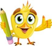 Simple Style Bird Cartoon Vector Character AKA Birdy Eyebrows - Pencil