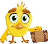 Simple Style Bird Cartoon Vector Character AKA Birdy Eyebrows - Travel