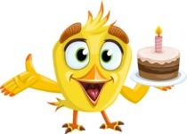 Simple Style Bird Cartoon Vector Character AKA Birdy Eyebrows - Cake