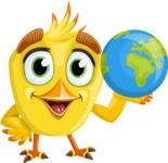 Simple Style Bird Cartoon Vector Character AKA Birdy Eyebrows - Earth