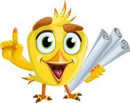 Simple Style Bird Cartoon Vector Character AKA Birdy Eyebrows - Plans