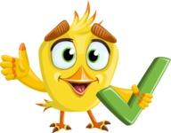 Simple Style Bird Cartoon Vector Character AKA Birdy Eyebrows - Check