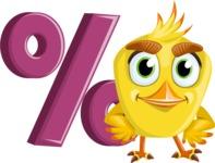 Simple Style Bird Cartoon Vector Character AKA Birdy Eyebrows - Percent