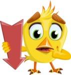 Simple Style Bird Cartoon Vector Character AKA Birdy Eyebrows - Pointer 2