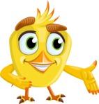 Simple Style Bird Cartoon Vector Character AKA Birdy Eyebrows - Show