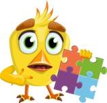 Simple Style Bird Cartoon Vector Character AKA Birdy Eyebrows - Puzzle