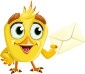 Simple Style Bird Cartoon Vector Character AKA Birdy Eyebrows - Letter