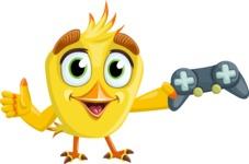 Simple Style Bird Cartoon Vector Character AKA Birdy Eyebrows - Joystick