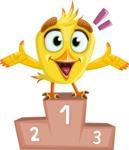 Simple Style Bird Cartoon Vector Character AKA Birdy Eyebrows - On Top