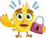 Simple Style Bird Cartoon Vector Character AKA Birdy Eyebrows - Lock