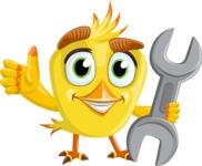 Simple Style Bird Cartoon Vector Character AKA Birdy Eyebrows - Repear