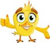 Simple Style Bird Cartoon Vector Character AKA Birdy Eyebrows - Show 2