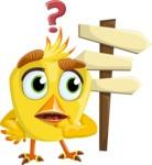 Simple Style Bird Cartoon Vector Character AKA Birdy Eyebrows - Crossroad
