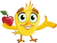 Simple Style Bird Cartoon Vector Character AKA Birdy Eyebrows - Apple