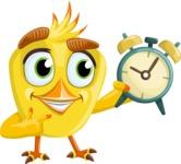 Simple Style Bird Cartoon Vector Character AKA Birdy Eyebrows - On Time
