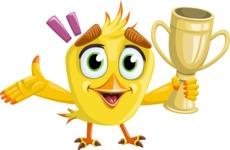 Simple Style Bird Cartoon Vector Character AKA Birdy Eyebrows - Trophy