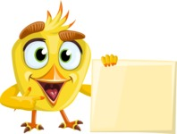 Simple Style Bird Cartoon Vector Character AKA Birdy Eyebrows - Sign 1