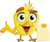 Simple Style Bird Cartoon Vector Character AKA Birdy Eyebrows - Sign 2