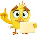 Simple Style Bird Cartoon Vector Character AKA Birdy Eyebrows - Sign 3