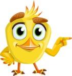 Simple Style Bird Cartoon Vector Character AKA Birdy Eyebrows - Point