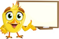 Simple Style Bird Cartoon Vector Character AKA Birdy Eyebrows - Sign 5