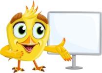 Simple Style Bird Cartoon Vector Character AKA Birdy Eyebrows - Sign 6