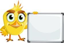 Simple Style Bird Cartoon Vector Character AKA Birdy Eyebrows - Sign 7
