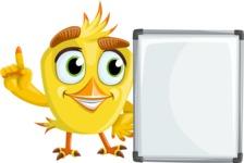 Simple Style Bird Cartoon Vector Character AKA Birdy Eyebrows - Presentation 1