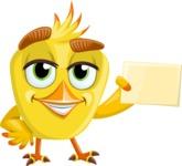 Simple Style Bird Cartoon Vector Character AKA Birdy Eyebrows - Presentation 2