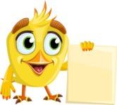 Simple Style Bird Cartoon Vector Character AKA Birdy Eyebrows - Presentation 5