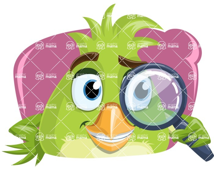 Parrot Cartoon Vector Character AKA Collin Feathers - Shape 4