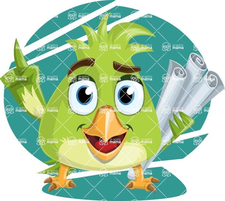 Parrot Cartoon Vector Character AKA Collin Feathers - Shape 6