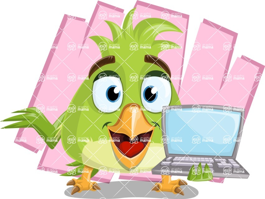 Parrot Cartoon Vector Character AKA Collin Feathers - Shape 7