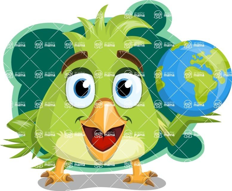Parrot Cartoon Vector Character AKA Collin Feathers - Shape 8