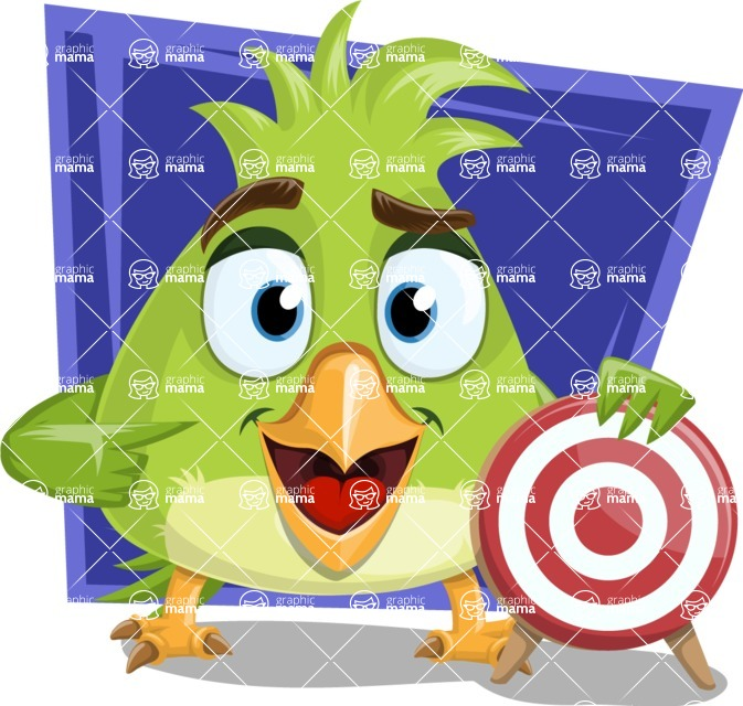 Parrot Cartoon Vector Character AKA Collin Feathers - Shape 10