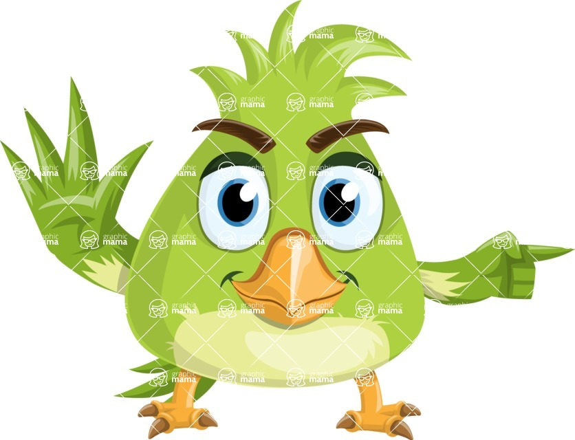 Parrot Cartoon Vector Character AKA Collin Feathers - Direct Attention
